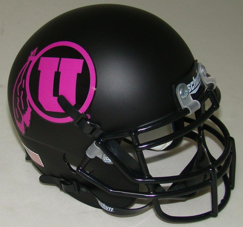 Utah Utes Alternate Black Matte (Pink Logo) Schutt Mini Authentic Football Helmet