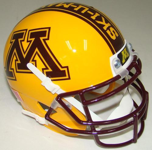 "Minnesota Golden Gophers Alternate Gold ""BRICK BY BRICK"" Schutt Mini Authentic Football Helmet"