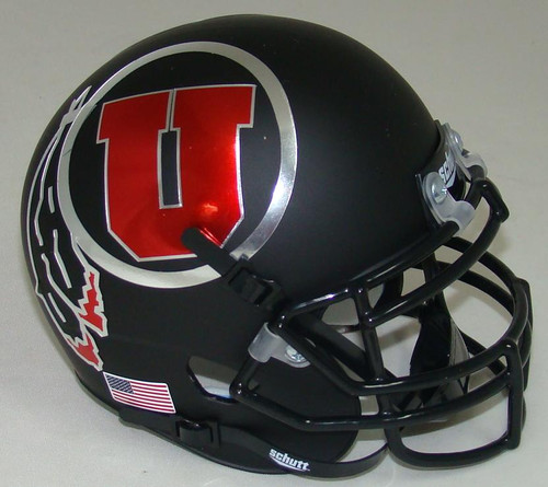 Utah Utes Alternate 7 Black Schutt Mini Authentic Football Helmet