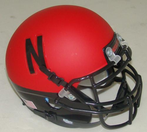 Nebraska Cornhuskers Alternate Black Scarlet Wrap Schutt Mini Authentic Football Helmet