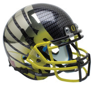 Oregon Ducks Authentic Schutt Mini Football Helmet - Carbon Fiber with Yellow Fade Wings