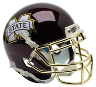 Mississippi State Bulldogs Alternate Chrome Mask Schutt Mini Authentic Football Helmet