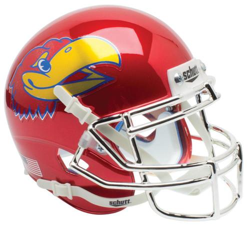 Kansas Jayhawks Alternate Red CHROME Schutt Mini Authentic Football Helmet