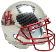 Houston Cougars Alternate Carbon Fiber Chrome Schutt Mini Authentic Football Helmet