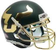 South Florida Bulls Alternate Matte Green and Gold Chrome Schutt Mini Authentic Football Helmet