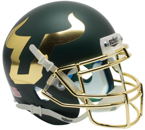 South Florida Bulls Alternate Matte Green and Gold Chrome Schutt Mini Authentic Football Helmet