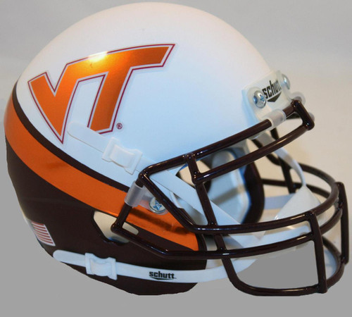 Virginia Tech Hokies ALTERNATE WEDGE WHITE EFFECT Schutt Mini Authentic Football Helmet