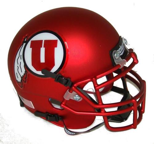 Utah Utes Satin Red Alternate 9 Schutt Mini Authentic Football Helmet