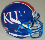 Kansas Jayhawks Alternate Blue with CHROME Mask Schutt Mini Authentic Football Helmet