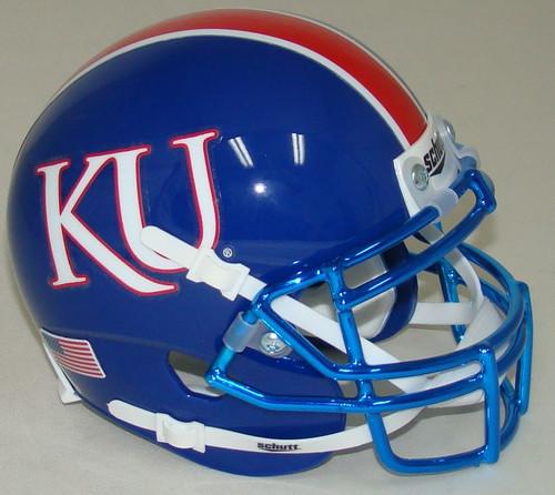 Kansas Jayhawks Alternate Blue with CHROME Mask Schutt Mini Authentic Football Helmet