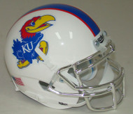 Kansas Jayhawks Alternate White with CHROME Mask Schutt Mini Authentic Football Helmet