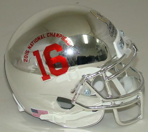 Alabama Crimson Tide Alternate CHROME SPECIAL 2015 FBS National Champions Schutt Mini Authentic Football Helmet