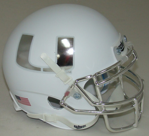 Miami Hurricanes Alternate White Chrome Schutt Mini Authentic Football Helmet