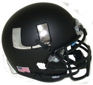 Miami Hurricanes Alternate Black Chrome Schutt Mini Authentic Football Helmet