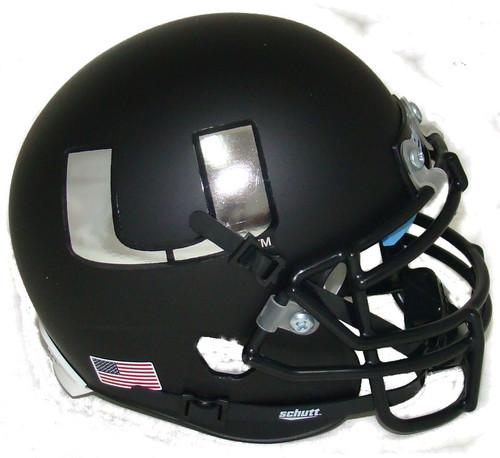 Miami Hurricanes Alternate Black Chrome Schutt Mini Authentic Football Helmet