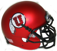 Utah Utes Satin Red Alternate 11 Schutt Mini Authentic Football Helmet