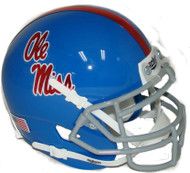 Mississippi (Ole Miss) Rebels Alternate Blue Chrome Decal Schutt Mini Authentic Helmet