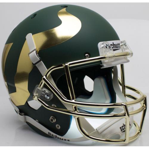 South Florida Bulls Alternate Green with Chrome Mask Schutt Full Size Replica XP Football Helmet