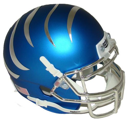Memphis Tigers Satin Blue Chrome Alternate Schutt Mini Authentic Football Helmet