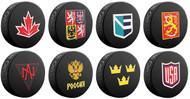 All 8 - 2016 World Cup of Hockey Logo Souvenir Hockey Pucks - Includes All 8 Team Pucks