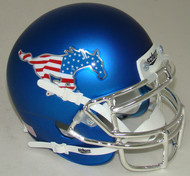 Southern Methodist SMU Mustangs Blue Flag Chrome Schutt Mini Authentic Helmet