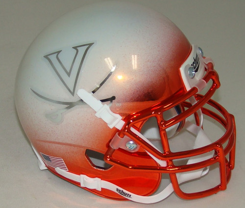 Virginia Cavaliers Alternate White Chrome Schutt Mini Authentic Football Helmet