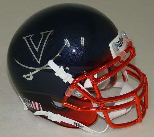 Virginia Cavaliers Alternate Navy Chrome Schutt Mini Authentic Football Helmet