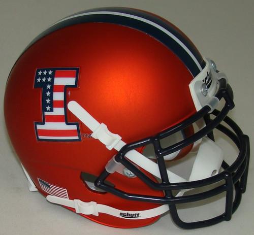 Illinois Fighting Illini Alternate Matte Orange with USA Flag Logo Schutt Mini Authentic Football Helmet