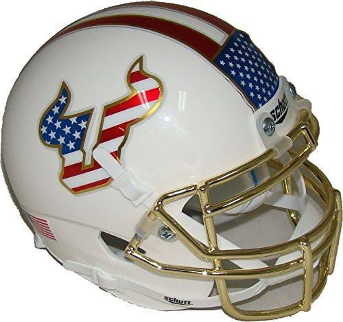 South Florida Bulls Alternate Red White & Blue Flag Chrome Schutt Authentic Mini Football Helmet