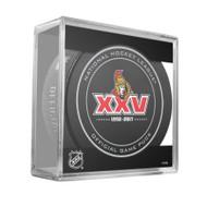 Ottawa Senators 25th Anniversary (2017) Sherwood Official NHL Game Puck in Cube
