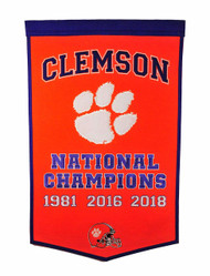 Clemson Tigers Dynasty Banner with 2018 NCAA National Championship