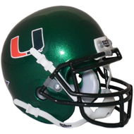 Miami Hurricanes Green Schutt Mini Authentic Helmet