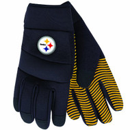 NFL Pittsburgh Steelers Black Deluxe Utility Work Gloves