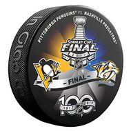 2017 NHL Stanley Cup Playoff Final Pittsburgh Penguins vs. Nashville Predators Dueling Souvenir Puck