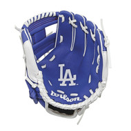 "Wilson A200 10"" Los Angeles Dodgers MLB Baseball Tee Ball Youth Glove - Right Hand Throw"