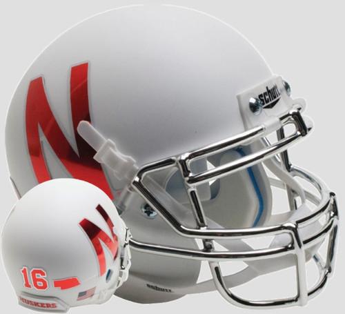 Nebraska Cornhuskers Alternate White with Chrome Mask Schutt Full Size Replica XP Football Helmet