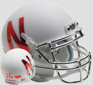 Nebraska Cornhuskers Alternate White with Chrome Mask Schutt Full Size Replica Helmet