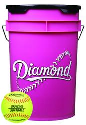 Diamond 18 Softballs Pink Bucket Combo with 11-inch Softballs (includes 18 11YOS Softballs)