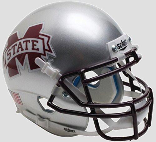 Mississippi State Bulldogs Alternate Silver Schutt Authentic Mini Football Helmet