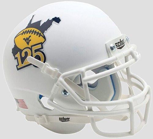 West Virginia Mountaineers Matte White 125 Years of WVU Football Mini Football Helmet