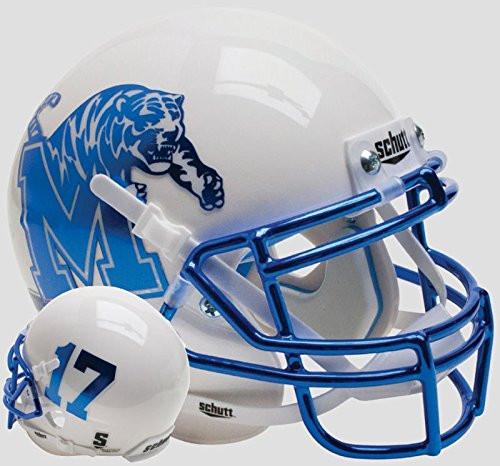 Memphis Tigers Alternate White Chrome Schutt Mini Authentic Football Helmet