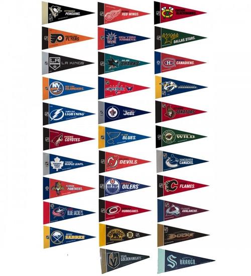 NHL Mini Pennant Set (all 32 Teams including the Seattle Kraken