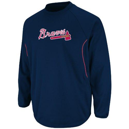 best service 43af6 25c0b MLB Atlanta Braves Men's Long Sleeve Crew Neck Thermabase Tech Fleece  Pullover