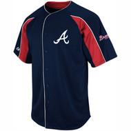 Majestic Athletic MLB Atlanta Braves Double Play Navy Blue Jersey