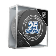 Tampa Bay Lightning 25th Anniversary Official Game Puck in Cube