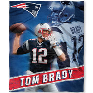 "NFL New England Patriots Tom Brady Silk Touch Throw Blanket Size 50"" x 60"""