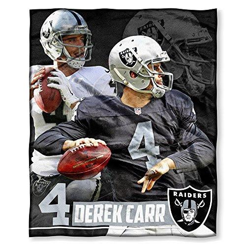 """NFL Derek Carr Las Vegas Raiders Silk Touch Throw Blanket Size 50"""" x 60"""""""