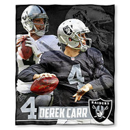 "NFL Derek Carr Las Vegas Raiders Silk Touch Throw Blanket Size 50"" x 60"""