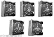 All 5 - 2014 NHL Stanley Cup Playoff Sherwood Official Game Pucks (Games 1-5)