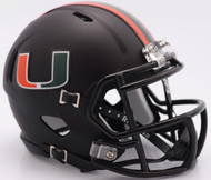 Miami Hurricanes Alternate Black Revolution SPEED Mini Helmet